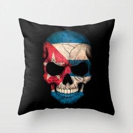 Dark Skull with Flag of Cuba Throw Pillow