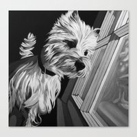 westie Canvas Prints featuring Westie by mothermary