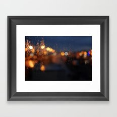 rainy night in the city Framed Art Print