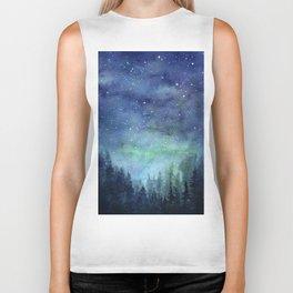 Watercolor Galaxy Nebula Northern Lights Painting Biker Tank