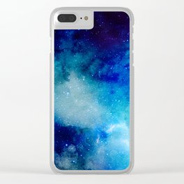 Blue Watercolor Space Pattern Clear iPhone Case