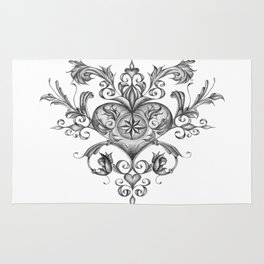 Filigree Love heart. Rug