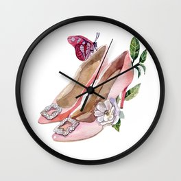 Shoes with flowers and butterfly Wall Clock