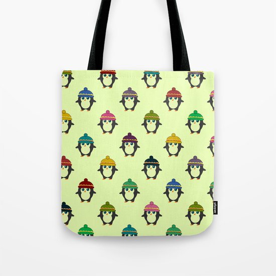 Penguins with colorful beanies Tote Bag