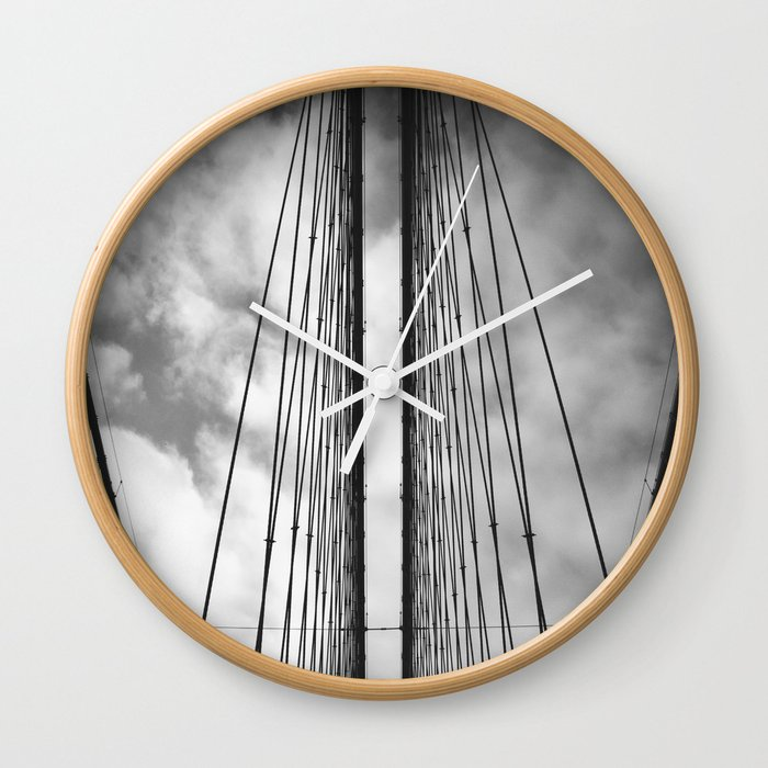 New York - Brooklyn Bridge, Black and White Wall Clock
