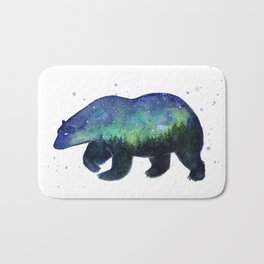 Polar Bear Silhouette with Northern Lights Galaxy Bath Mat
