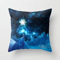 frozen elsa Throw Pillows featuring Frozen - Elsa by Thorin