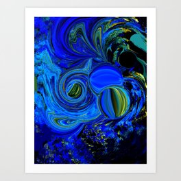 Abstract Blue with a Golden Glow Art Print