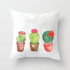 Three Cacti watercolor white Throw Pillow