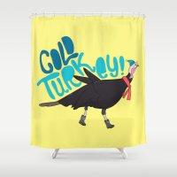 turkey Shower Curtains featuring Cold Turkey by Chelsea Herrick