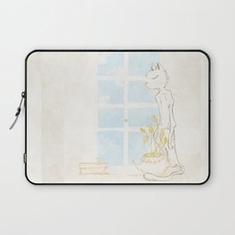 Cat Smelling Flower Laptop Sleeve