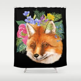 Red Fox with Flowers Shower Curtain