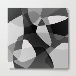Mid Century Modern Abstract Rock Layers Charcoal Metal Print