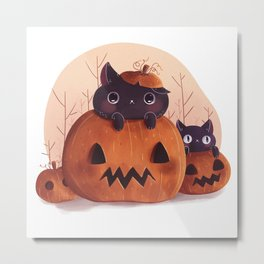 Pumpkin kitty Metal Print