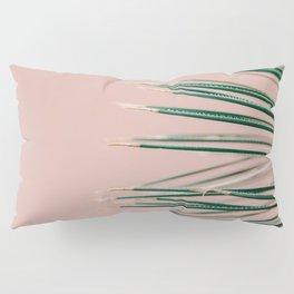 Green on Coral | Botanical modern photography print | Tropical vibe art Pillow Sham