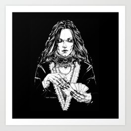 Smoker Lady. In Black Silk. Yury Fadeev Art Print