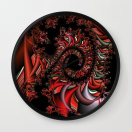 Red Dragon Fractal Wall Clock