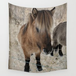 snowy Icelandic horse Wall Tapestry