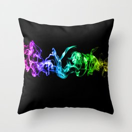 Colorful Abstract Smoke - A Rainbow in the Dark Throw Pillow
