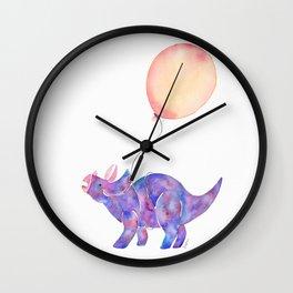Tie-dye Triceratops Wall Clock