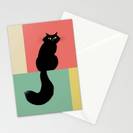 Longhaired Black Cat Stationery Cards