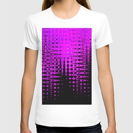 Modern abstract pattern in purple T-shirt