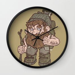 The Hairy Hermit - Brown Wall Clock