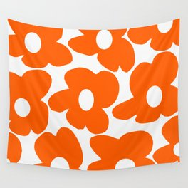 Orange Retro Flowers White Background #decor #society6 #buyart Wall Tapestry