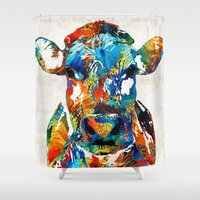 nba Shower Curtains featuring Colorful Cow Art - Mootown - By Sharon Cummings by Sharon Cummings