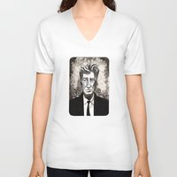 david lynch V-neck T-shirts featuring David Lynch by Emma Ridgway