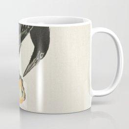 Crow eating persimmon Fruit - Vintage Japanese Woodblock Print Art Coffee Mug