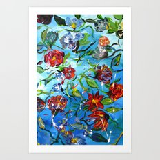 Blue Flower Swirl Art Print