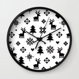 WINTER FOREST - PIXEL PATTERN Wall Clock