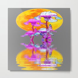 PURPLE-WHITE IRIS MOON REFLECTION Metal Print