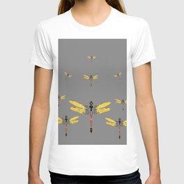 GOLDEN-RED DRAGONFLIES ON GREY T-shirt
