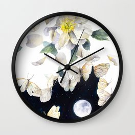 Peony and Butterflies Surreal Painting Wall Clock