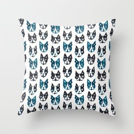 BOSTON TERRIER BLUE Throw Pillow