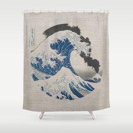 Great Wave Off Kanagawa Erupting Mount Fuji Shower Curtain