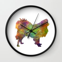 Japanese Spitz in watercolor Wall Clock