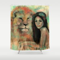 stephen king Shower Curtains featuring King by Slaveika Aladjova