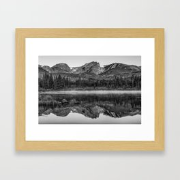 Rocky Mountain Park Mountain Landscape - Monochrome Reflections Framed Art Print