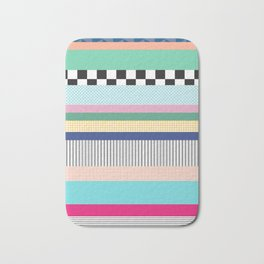 Stripes Mixed Print and Pattern with Color blocking Bath Mat