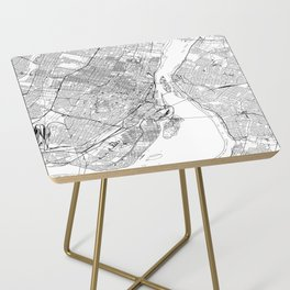 Montreal White Map Side Table