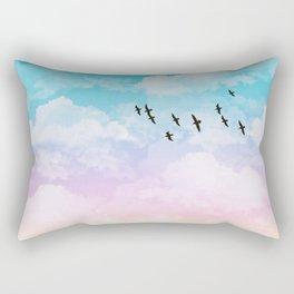Little Fluffy Clouds Pastel Sky with Birds Rectangular Pillow