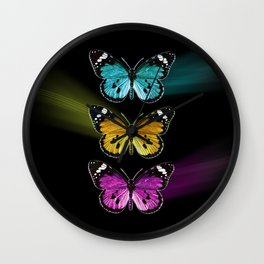 3 colorful butterflies Wall Clock