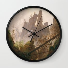 Rocky Landscape in the Elbe Sandstone Mountains Wall Clock