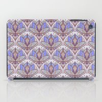 bedding iPad Cases featuring Art Deco Lotus Rising 2 - sage grey & purple pattern by micklyn