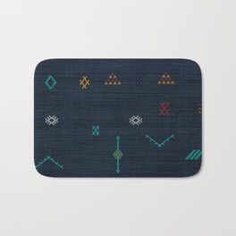Cactus Silk Pattern in Navy Blue Bath Mat