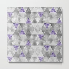GRAPHIC PATTERN Sparkling triangles | silver & purple Metal Print