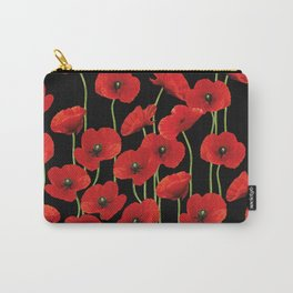 Poppies Flowers black background pattern graphic Carry-All Pouch